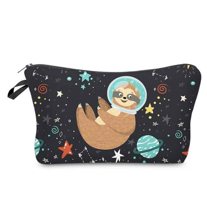 Cute Sloth Outer Space Large Padded Waterproof Pencil Case Cosmetic Bag - The Fashion Gift Shop