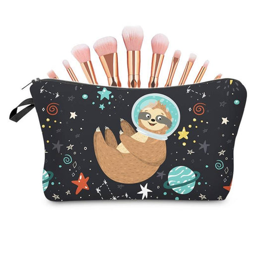 Cute Sloth Outer Space Large Padded Waterproof Pencil Case Cosmetic Bag - The Fashion Gift Shop Ltd