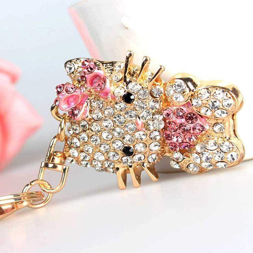 Diamante Hello Kitty Keyring Sparkly Silver Pink Cat Hearts Key Fob - Gift Shop UK