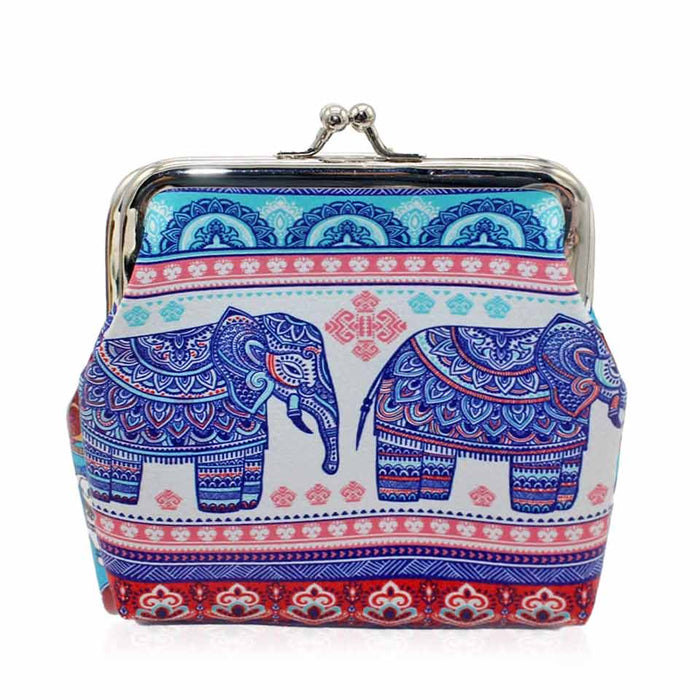 Elephant Print Large Coin Purse Ladies Faux Leather Card Holder - Gift Shop UK