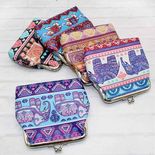 Elephant Print Large Coin Purse Ladies Faux Leather Card Holder - The Fashion Gift Shop