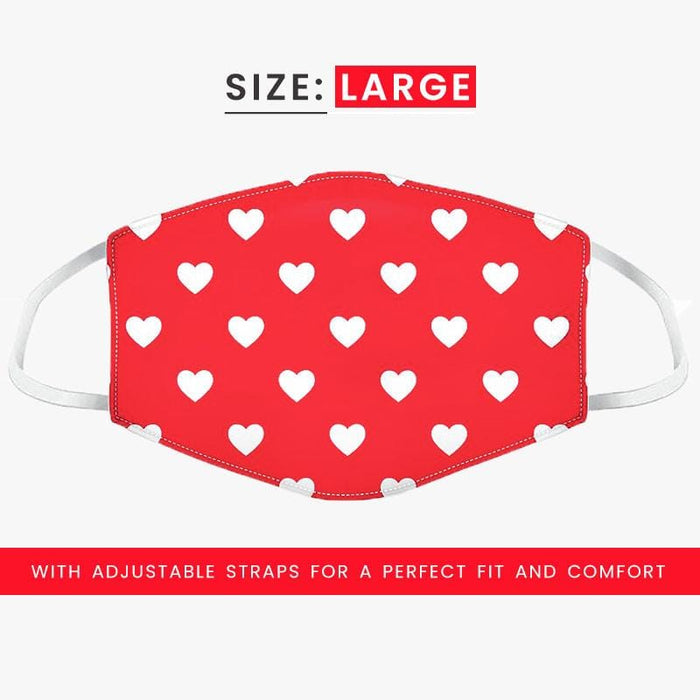 Face Covering Red White Heart Design Pattern Face Mask Double Layered - The Fashion Gift Shop