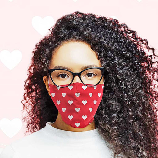 Face Covering Red White Heart Design Pattern Face Mask Double Layered - Gift Shop UK