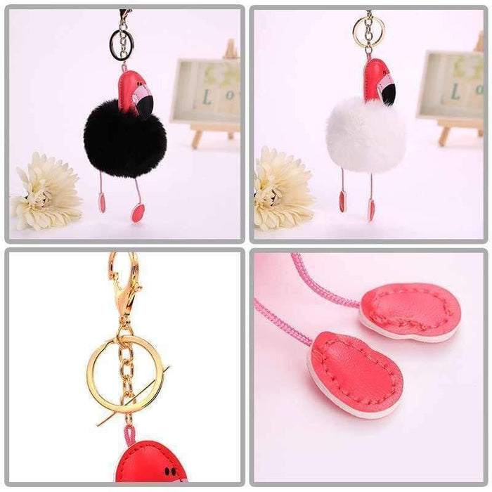 Flamingo Pom Pom Keyring Fluffy Faux Fur Bag Charm UK Seller - The Fashion Gift Shop Ltd