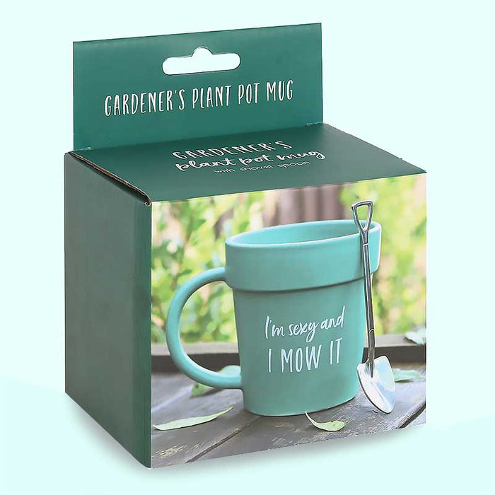 Gardening Plant Pot Mug with shovel Spoon Valentines Gift for Him - Gift Shop UK