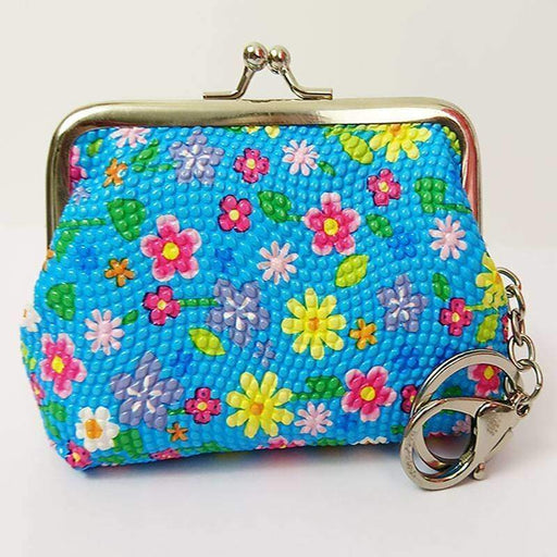 Girls Back to School Floral Print Ladies Textured Coin Purses with Keyring - The Fashion Gift Shop Ltd