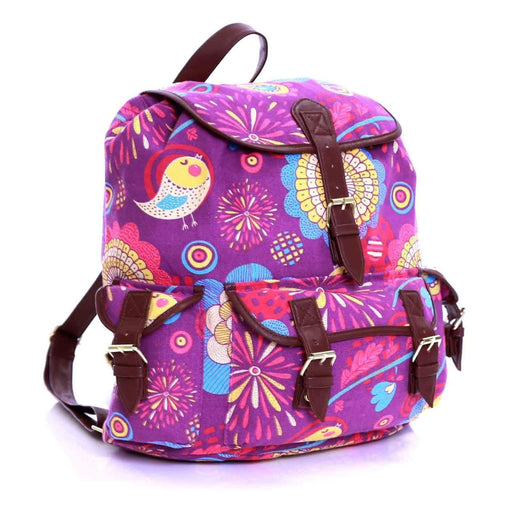 Girls Ladies Bird Print Pattern Canvas Rucksack Backpacks School Bags - Gift Shop UK