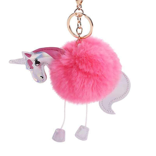 Girls Ladies Unicorn Pom Pom Keyring Soft Fluffy Faux Fur Handbag Bag Charm - The Fashion Gift Shop Ltd