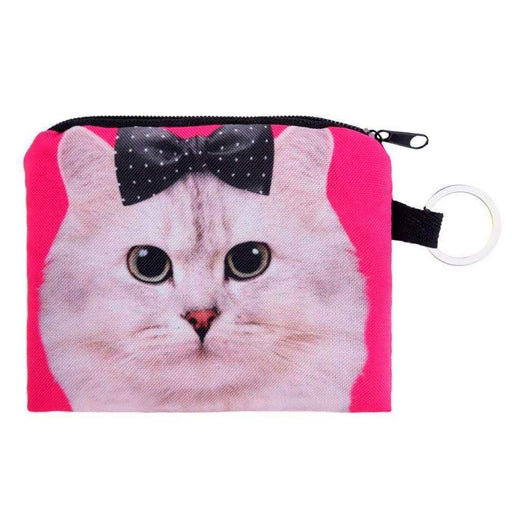 Girls Pink Zipped Coin Purses Cat Kitten Face Design - The Fashion Gift Shop Ltd