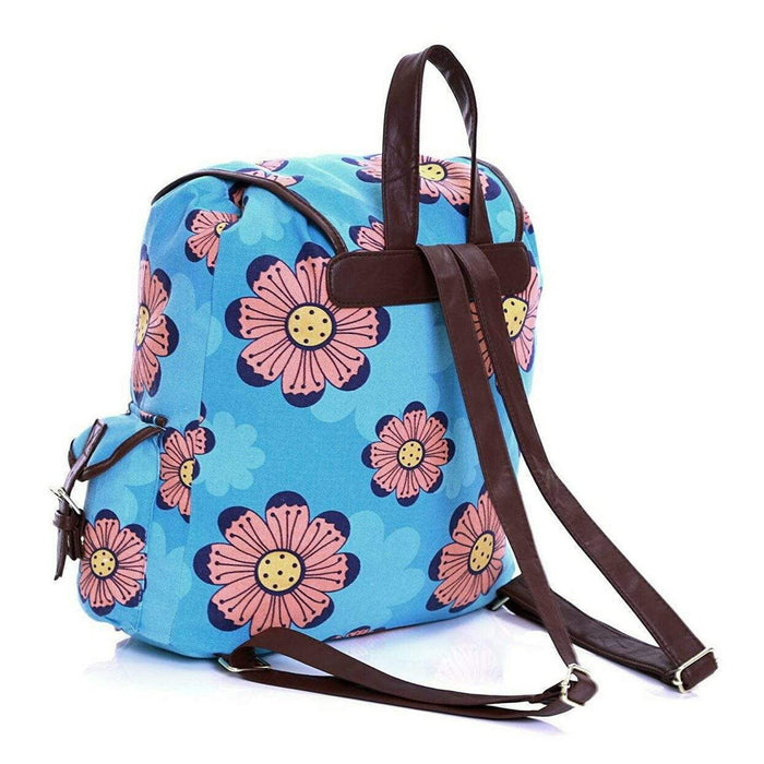 Girls Womens Flower Pattern Canvas Backpacks Back to School Rucksacks Bags - The Fashion Gift Shop Ltd