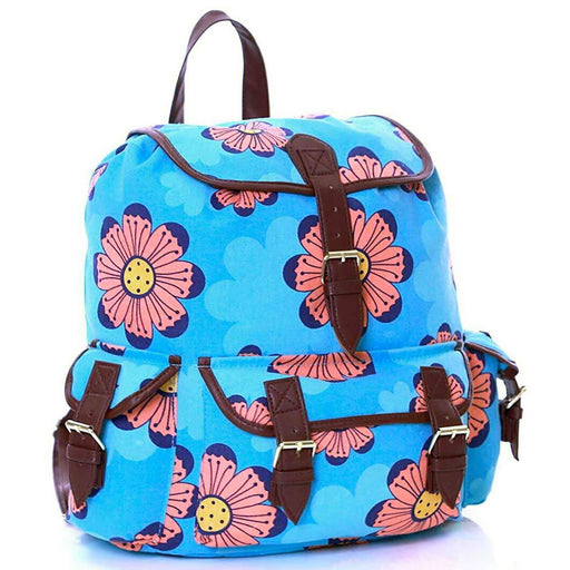 Girls Womens Flower Pattern Canvas Backpacks Back to School Rucksacks Bags - Gift Shop UK