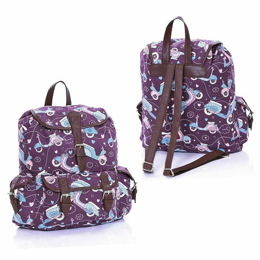 Girls Women's Scooter Print Cotton Backpacks - Gift Shop UK