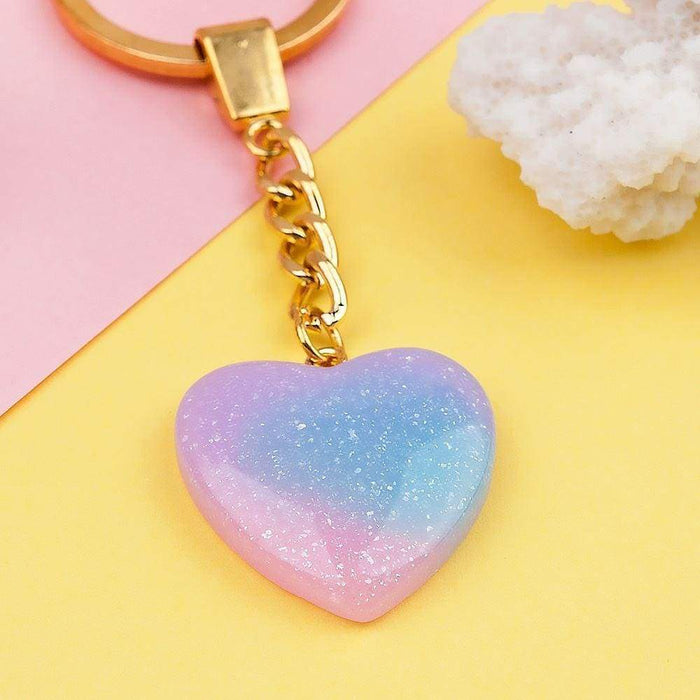 Glittery Love Heart Keyring Sparkly Stone Key Chain Pretty Accessory - The Fashion Gift Shop Ltd