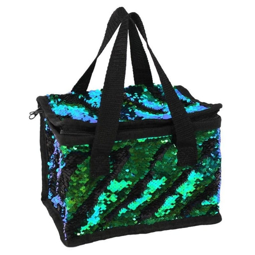 Green & Black Reversible Sequin Lunch Cool Bags - The Fashion Gift Shop