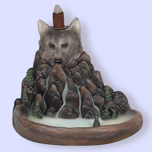 Grey Wolf Cliff Backflow Effect Incense Burner - The Fashion Gift Shop