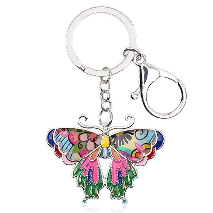 Hand Painted Butterfly Keyring Metal Mosaic Bag Charm Key Chain Gift - The Fashion Gift Shop Ltd