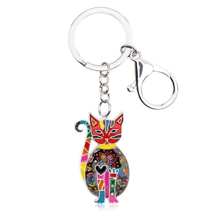 Hand Painted Cat Keyring Metal Multi Coloured Bag Charm Key Chain Gift UK