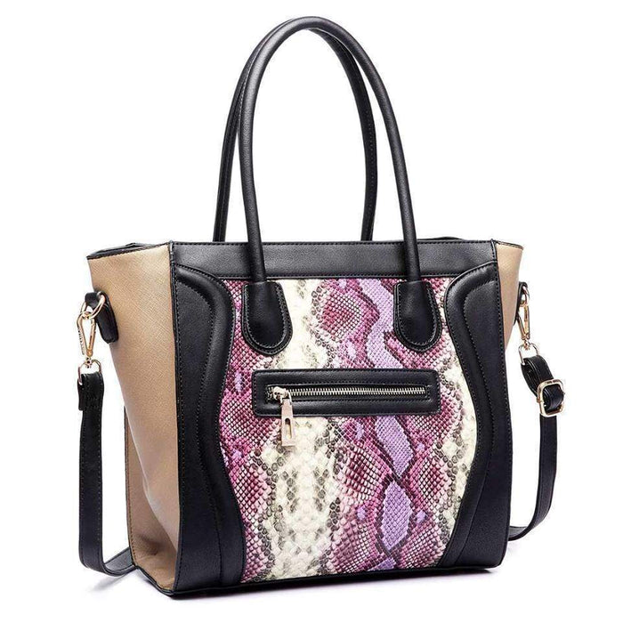 High Quality Handbag Purple Snake Print Shoulder Bag Glossy Tote - The Fashion Gift Shop Ltd