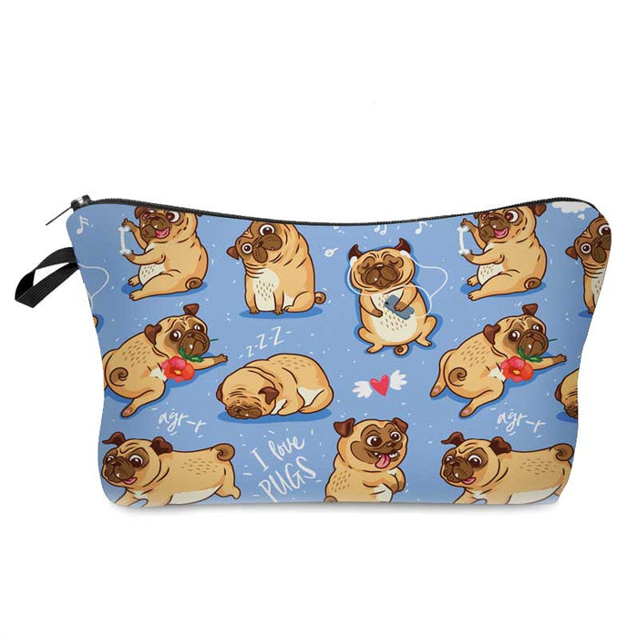 I Love Pug Dogs Fun Childs Waterproof Pencil Cases Ladies Makeup Cosmetic Bags - Gift Shop UK
