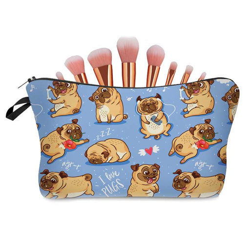 I Love Pug Dogs Fun Childs Waterproof Pencil Cases Ladies Makeup Cosmetic Bags - The Fashion Gift Shop Ltd