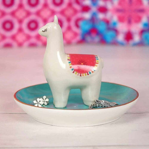 Jewellery Trinket Dish Featuring a Colourful Llama - The Fashion Gift Shop