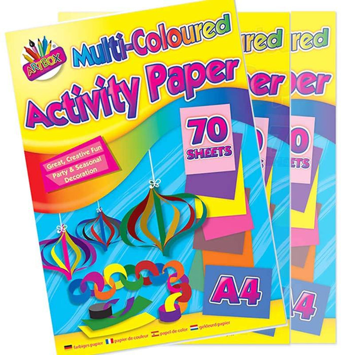 Kids Activity Multicoloured A4 Craft Paper 70 Sheets - Gift Shop UK