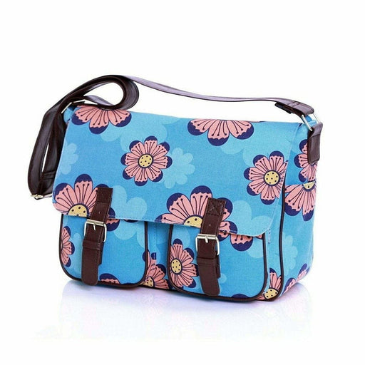 Ladies Girls Blue Floral Flower Satchel Handbag Bold Print Shoulder Bags - Gift Shop UK