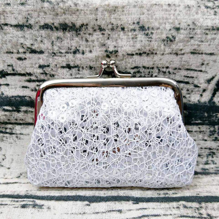 Ladies Girls Sparkly Sequin Coin Purse Lace Wallet Pocket Money Card Holder - Gift Shop UK