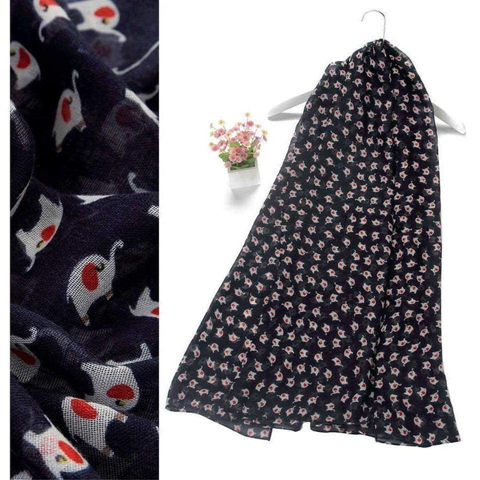 Ladies Mini Elephants Print Sort Scarf Girls Large Animal Print Fashion Scarves - Gift Shop UK