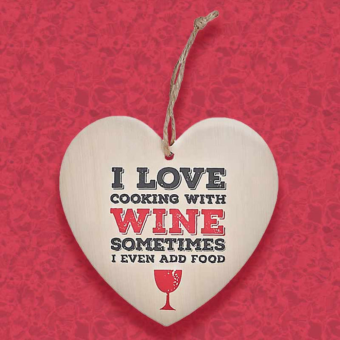 Love Cooking With Wine Hanging Sign - Gifts for Her - Gift Shop UK