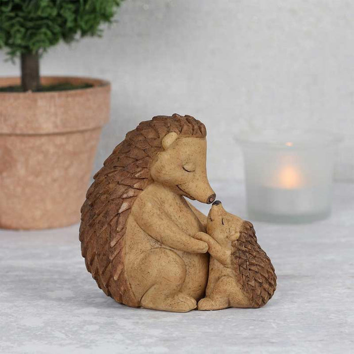 Loving Cuddle Mother and Baby Hedgehog Family Ornament - Gift Shop UK