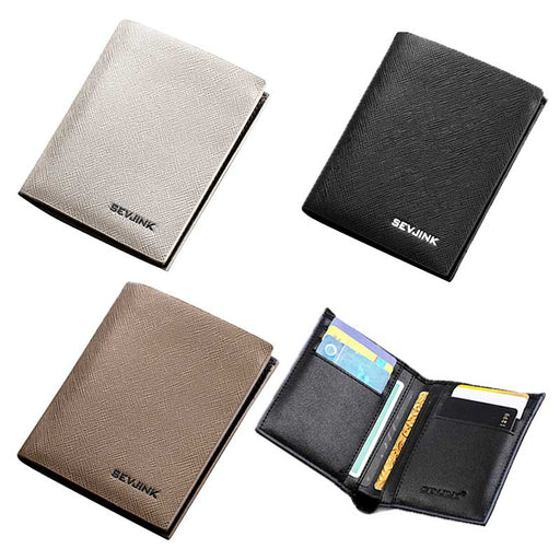 Men's Wallet Card Holder in Black - Grey - Taupe 5 card slots - PU Leather - The Fashion Gift Shop Ltd