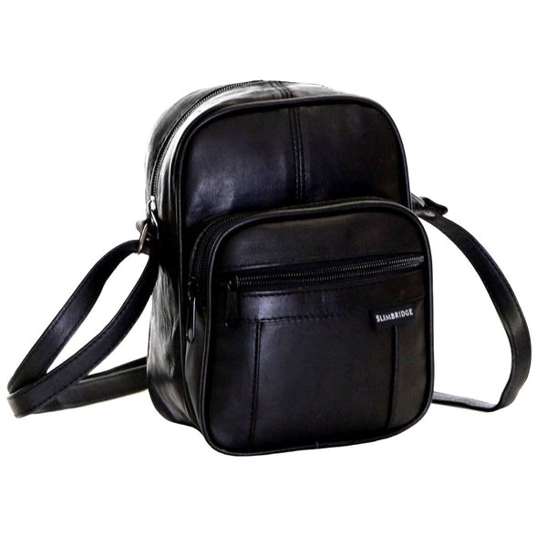 Men's Women's Real Leather Black Shoulder Bags Organiser Bags - The Fashion Gift Shop Ltd