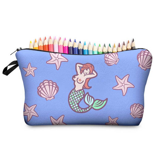 Mermaid Pencil Case - Padded Cosmetic Makeup Brush Bags - The Fashion Gift Shop Ltd