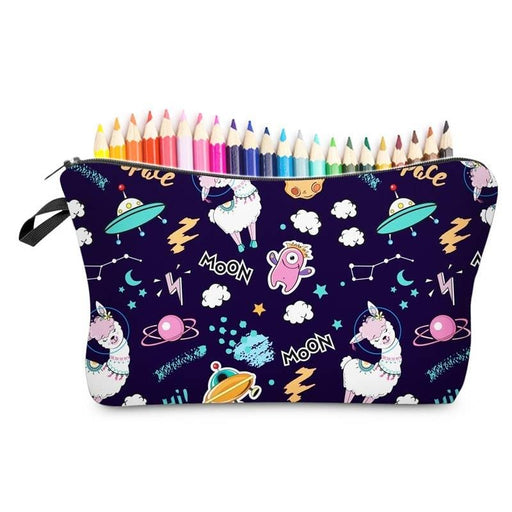 Moon Space Llama Large Waterproof Padded Pencil Case Cosmetic Bags - The Fashion Gift Shop Ltd