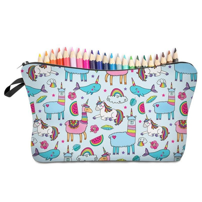 Mythical Animals Unicorns - Rainbows and Llama Colourful Pencil Case - The Fashion Gift Shop