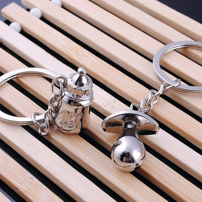 New Boy Girl Baby Shower New Born Gift Alloy Keyring Feeding Bottle Dummy - The Fashion Gift Shop Ltd