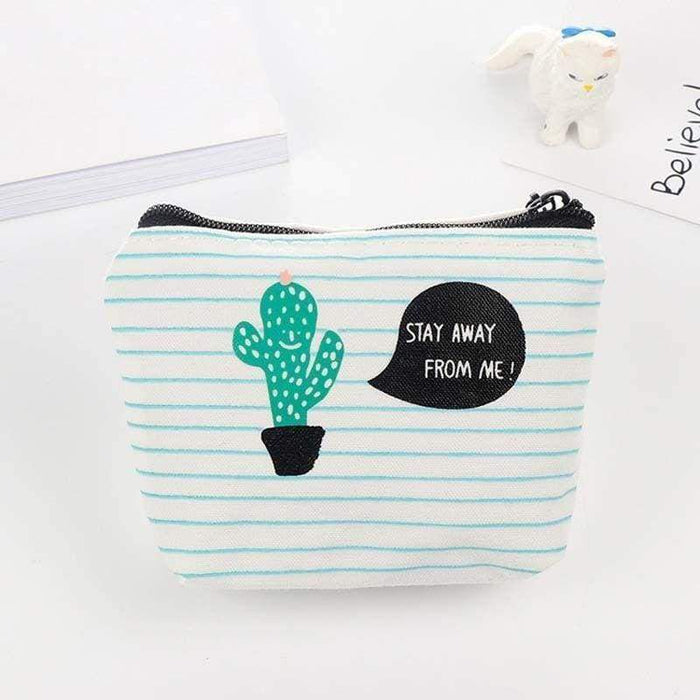 Canvas Coin Purse Cactus Print Pouch Mexican Theme - Gift Shop UK