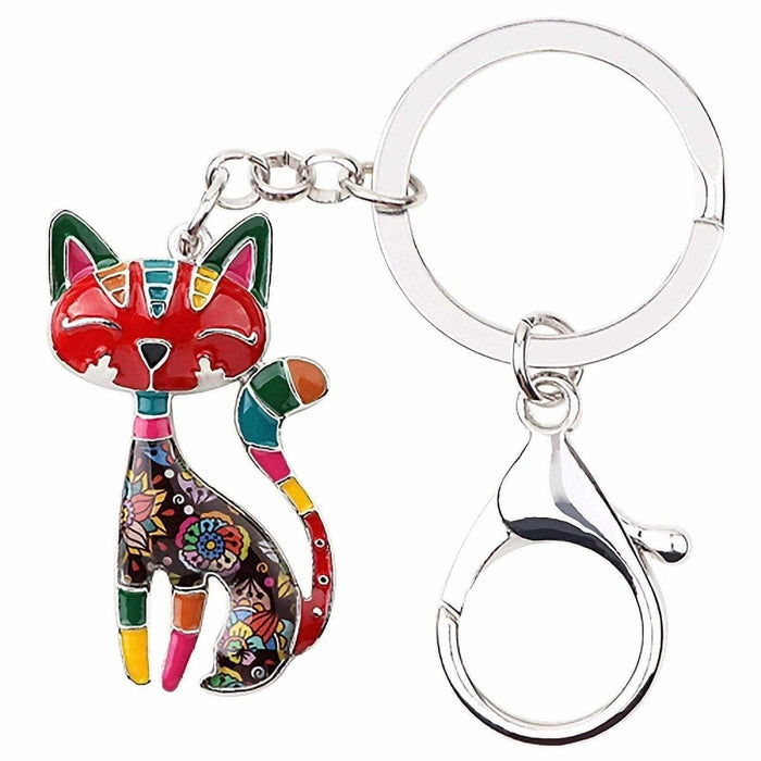 New Cat Kitten Mosaic Cute Animal Keyring Metal Bag Charm Hand Painted Gifts - The Fashion Gift Shop Ltd