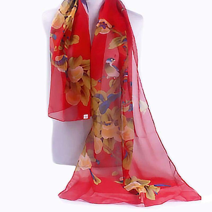 New Chiffon Scarf Bird Floral Long Floaty Ladies Scarves Wrap Gift - The Fashion Gift Shop Ltd