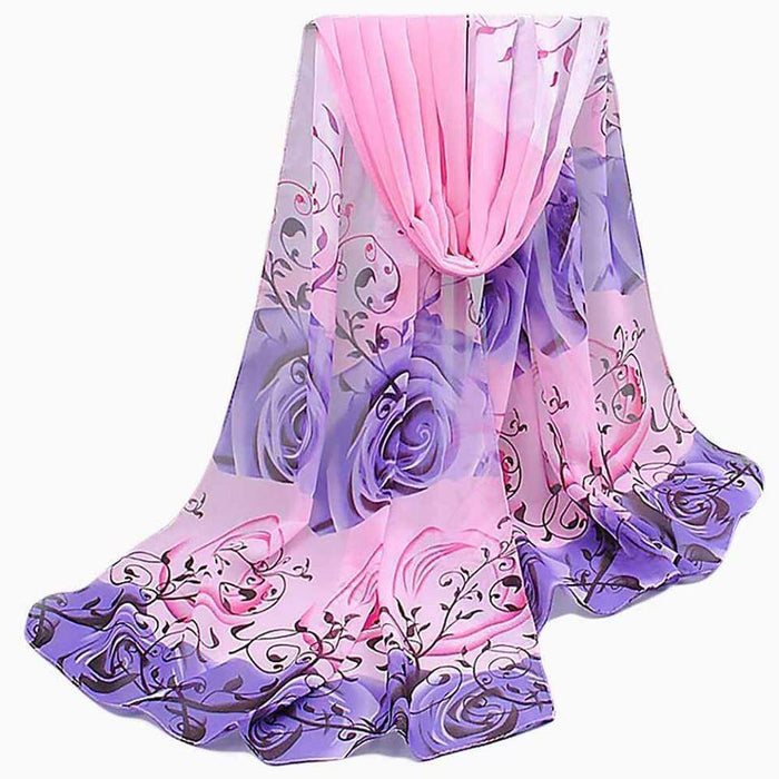 New Chiffon Scarf Lightweight Pink Grey Floral Scarves Neckwear - Gift Shop UK