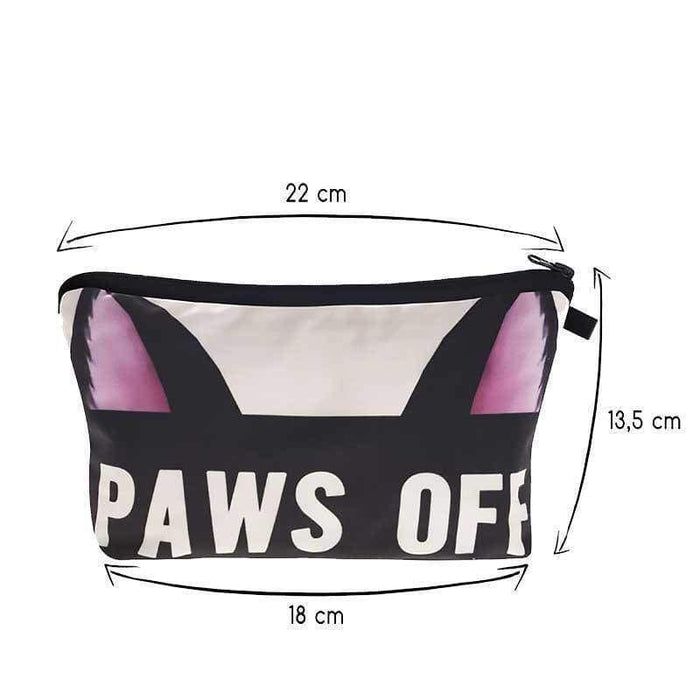 New Cosmetic Bag Paws Off Make Up Pouch Zipped Padded - The Fashion Gift Shop