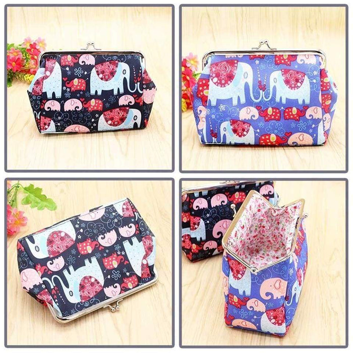 New Elephant Cosmetic Bag Large Canvas Coin Purse Clutch Bag - The Fashion Gift Shop Ltd
