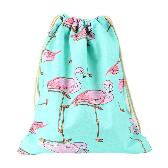 Girls Pink Flamingo Drawstring Blue Swim PE Yoga Gym Bag