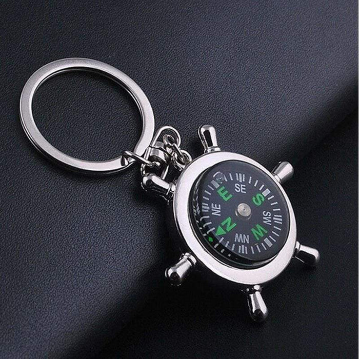 New For Him Silver Metal Camping Compass Keyring Quality Gifts - The Fashion Gift Shop