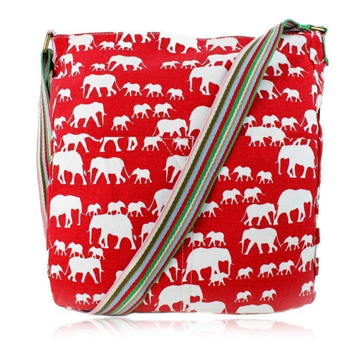 New Girls Ladies Elephant Canvas Shoulder Bag Printed Red School Handbag - The Fashion Gift Shop Ltd