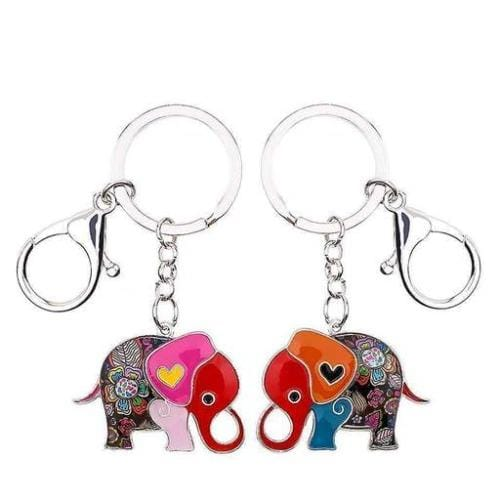 New Hand painted Elephant Keyring Mosaic Bag Charm Metal Gift - The Fashion Gift Shop