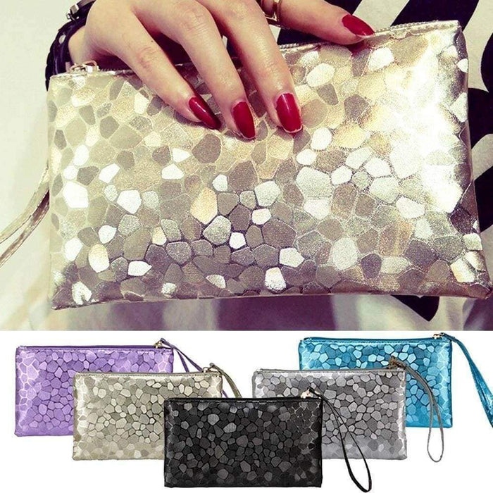 New Ladies Clutch Purse Pouch Small Zipped Bag Metallic - The Fashion Gift Shop Ltd