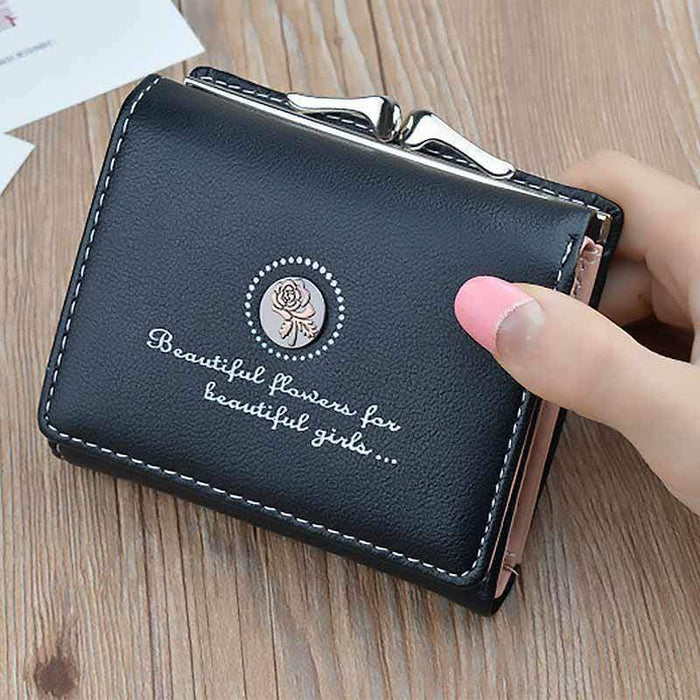 New Ladies Girls Black PU Leather Wallet Purse Cards Coins Money - Gift Shop UK