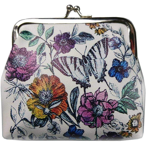 New Ladies Girls Butterfly Coin Purse Kiss Clasp Floral Clutch Womens Gift Novel - The Fashion Gift Shop Ltd